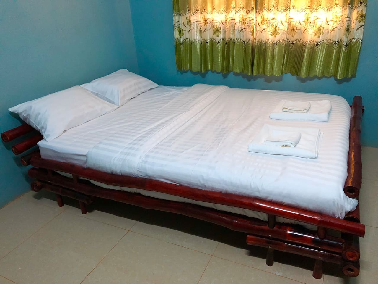 Bed room with bamboo bed