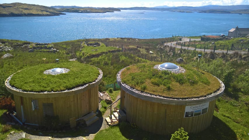 Looking down on the two yurts