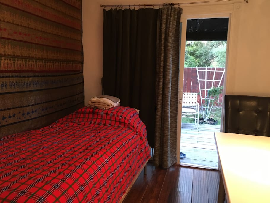 Bedroom is 8 x 10 ft. Private full bathroom attached. Non smoking room.