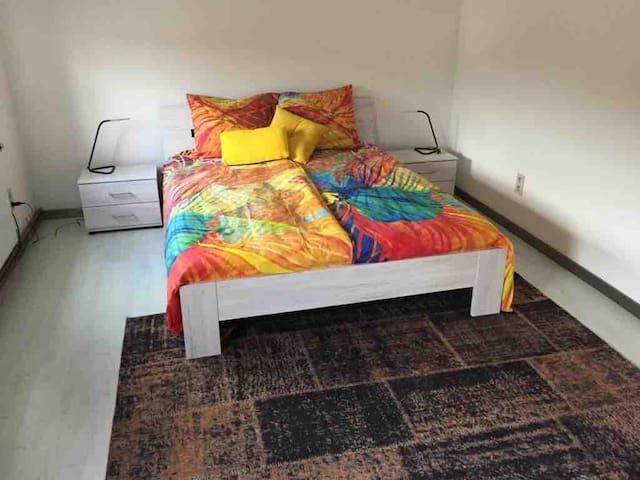 Schlafzimmer mit ein Doppelbett und kleiderschrank.