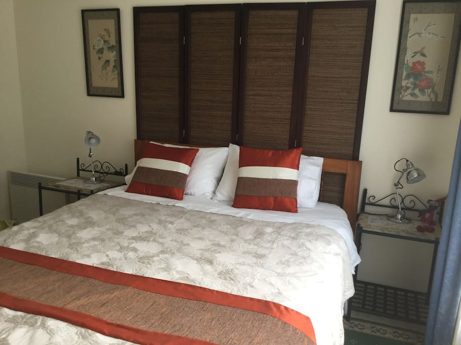 Your bedroom with very comfortable queen size bed and quality linen. There is an electric blanket for the colder nights and a ceiling fan for the warmer months.