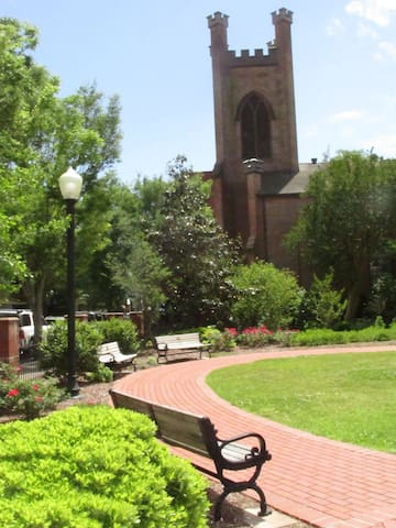 Church garden across the street