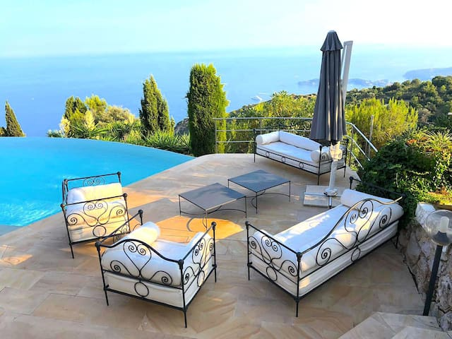 Stylish outdoor sofa on the pool deck