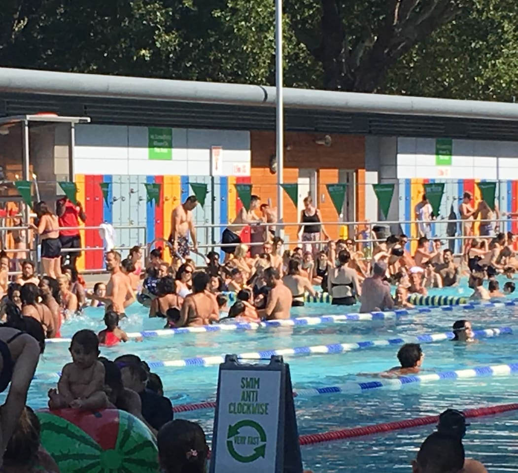 The amazing heated pool at London Fields Lido/Hoxton Beach is a 2 minutes stroll and open 6-9pm all year round for swims, sarnies and sun-bathes.
