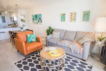 Bright and breezy, the living area invites you to kick back and relax.