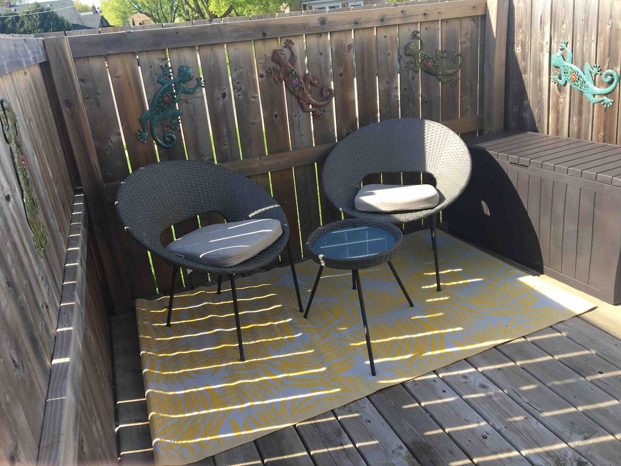Enjoy our fall weather with our comfortable and private front patio; A quiet place to enjoy some sunshine located at the bottom of the stairs, where smoking is permitted.