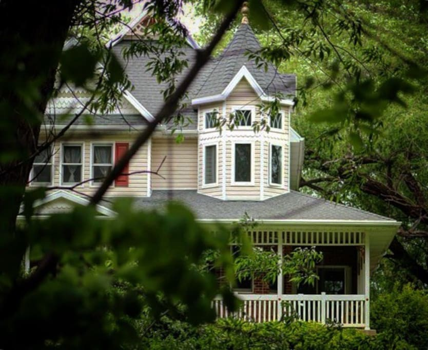 Victorian home on 3 acre wooded lot and large yard.