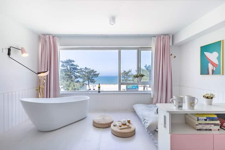 {地暖}淡妆【初见】浴缸全海景 海边第I排 国际海水浴场