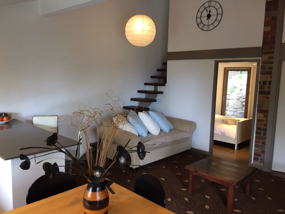 Stairs to optional 2nd bedroom with twin bed layout