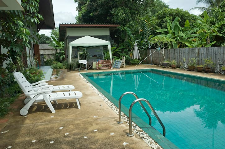 Cool off in the pool - fairly shallow at one end and reasonably deep at the other.