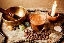 Preparing the cacao tea.