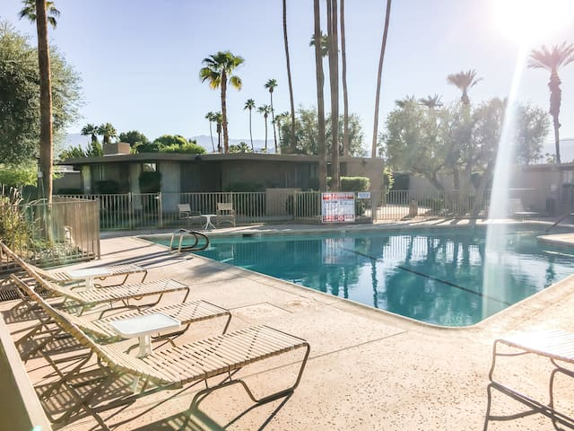 The sparkling pool has plenty of loungers to soak up the sun.