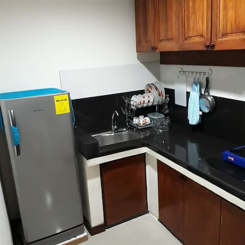 Kitchen w/ ref, elec. kettle, rice cooker & burner