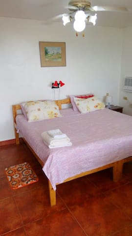 Master bedroom 15m2 King size bed that can be changed into 2 single beds, given notice. Good quality cotton bed linens and a thick matress ensures a good night's sleep. The aircon is of a quiet type. Direct access to the terrace. Ceiling fan.