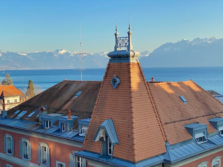 Lausanne Ouchy, Penthouse with terrace and breathtaking views!