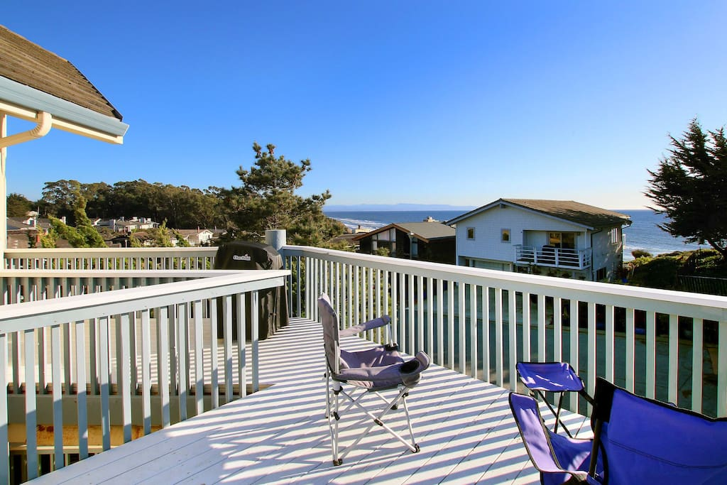 A large sundeck offers sweeping views of Monterey Bay and the Pacific Ocean.