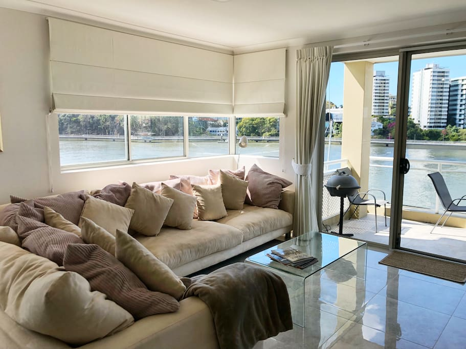 Living area overlooking the river