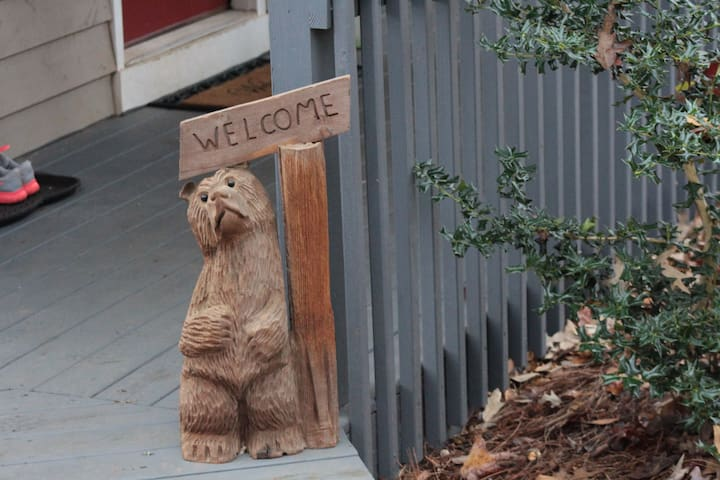 Mr. Bear invites you to the quiet, woodsy setting of our Grindle Bridge Cabin!