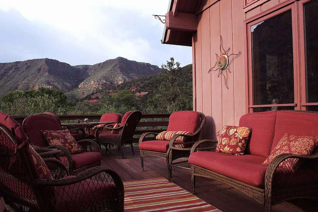 Spacious decks and patios all around the property.