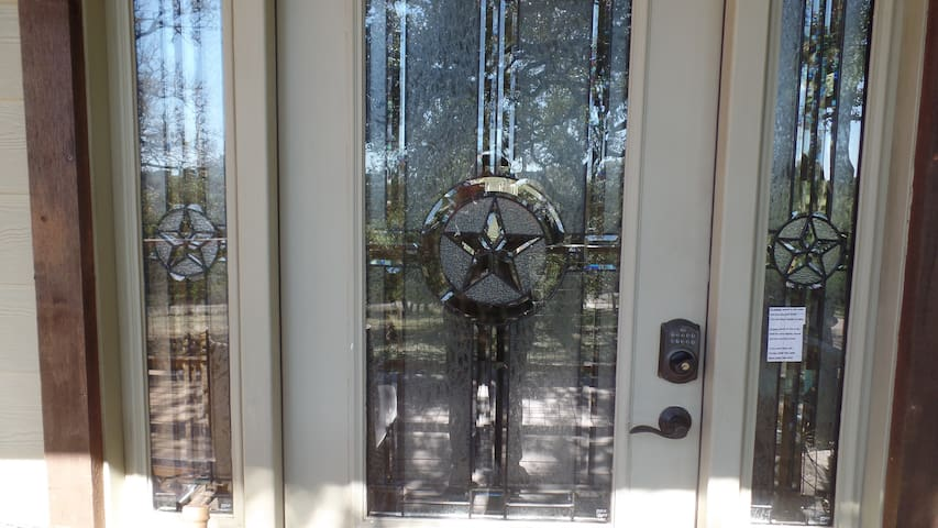 Front door entry - stained glass with Keypad entry