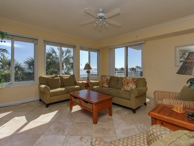 Living Room with Ocean Views and Balcony Access at 3203 Sea Crest