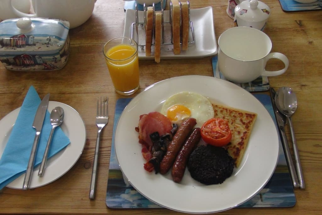 Various cereals, fruit juices and cooked breakfast on offer each morning