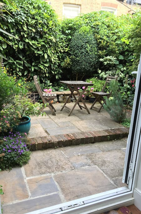 Double doors out to patio garden