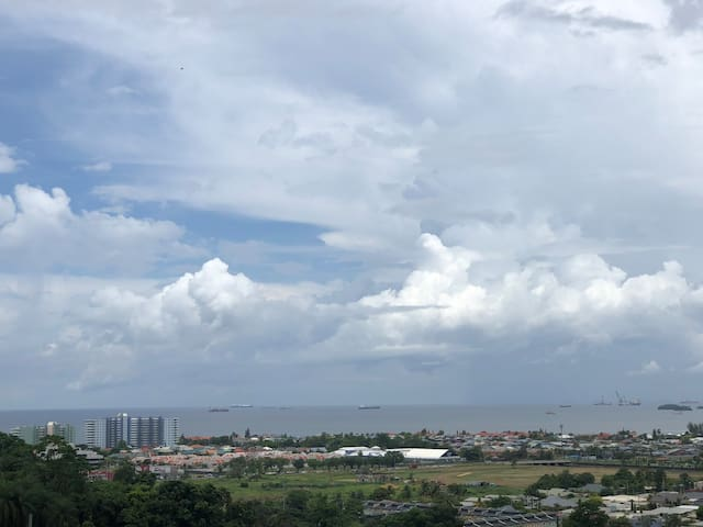 Great view overlooking the Gulf of Paria from the compound.