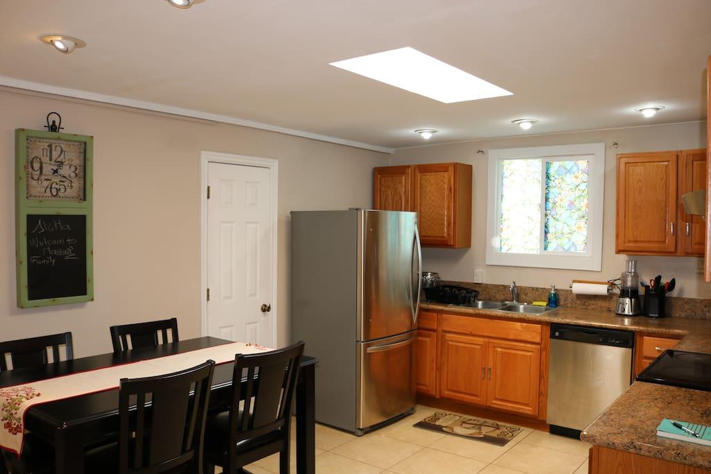 Kitchen - plenty of lights and skylight