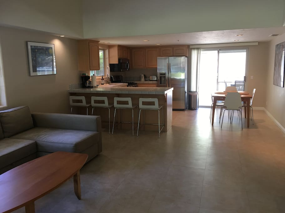 Full kitchen and dining areas. Guest house is professionally cleaned and restocked for each visit. A/C and heat.