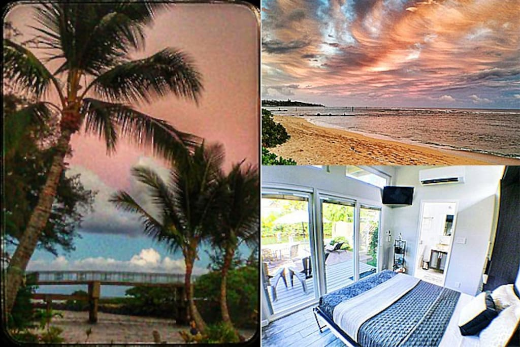 The Waika'ea Canal, runs through our property. Sunrises & moonrises are an absolute blessing to enjoy on the property while overlooking the canal from your private Lanai; or, 500' feet away at the  beloved Kapa'a Beach Park. (Actual Photos; taken from property & 500' away @ Kapa'a beach! No Filters)
