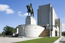 National Memorial on the Vítkov Hill with Statue of Jan Žižka in front of National Memorial on the Vítkov Hill - the largest riding sculpture in the Czech Republic