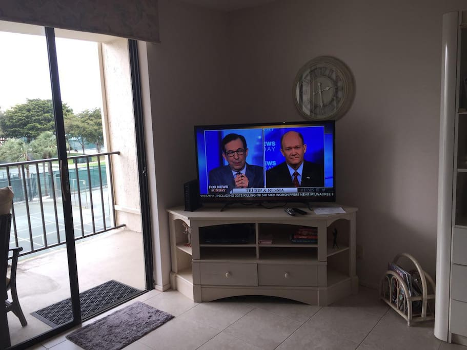Living room with brand new smart TV