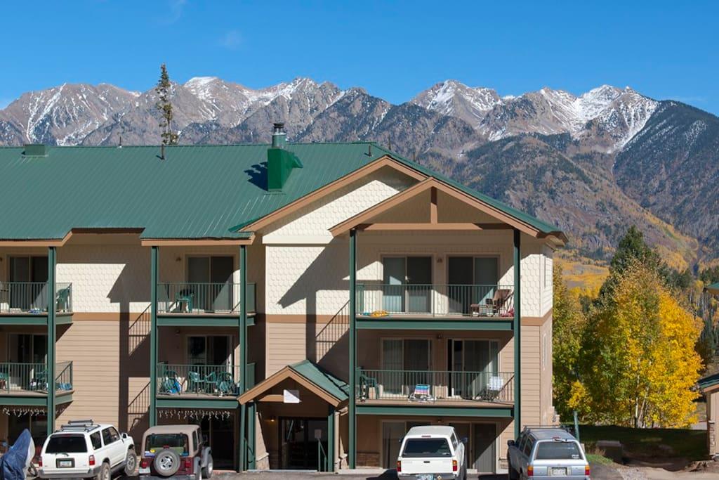 Durango Colorado vacation rental condo at Purgatory Resort condo building in Rocky Mountain Fall Color