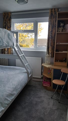 second bedroom with a full dbl bottom bunk  and new prestige matresses.