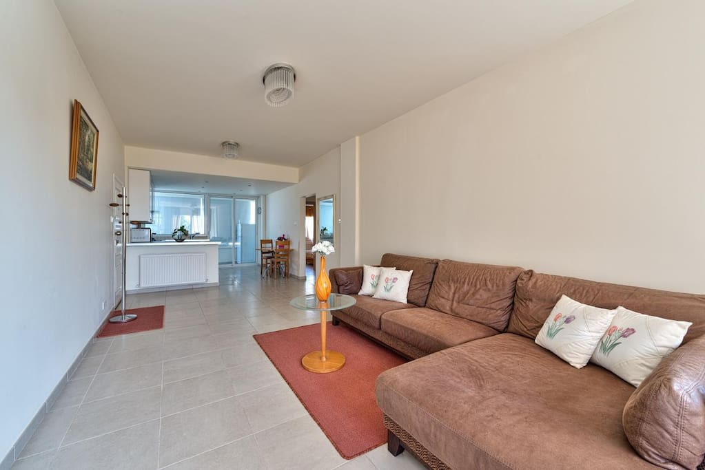 Open plan kitchen and living room with an access to the small balcony with fridge and washing machine