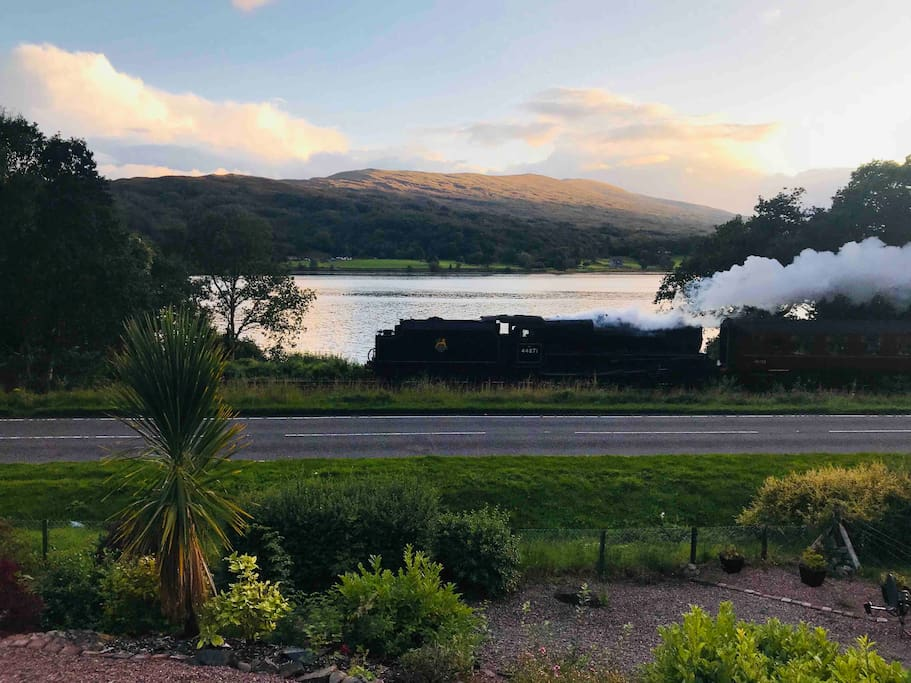 This is how close we are to the Jacobite steam train from the top deck at home. A must for all you Harry Potter fans.