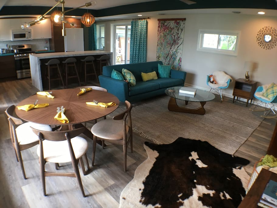 The living area has a convenient open floor plan.