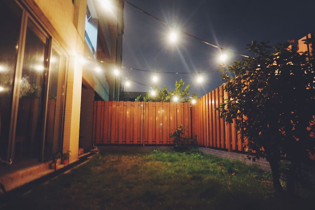 Backyard at night. Enjoy a romantic evening outside in the hammock while looking up at the stars.