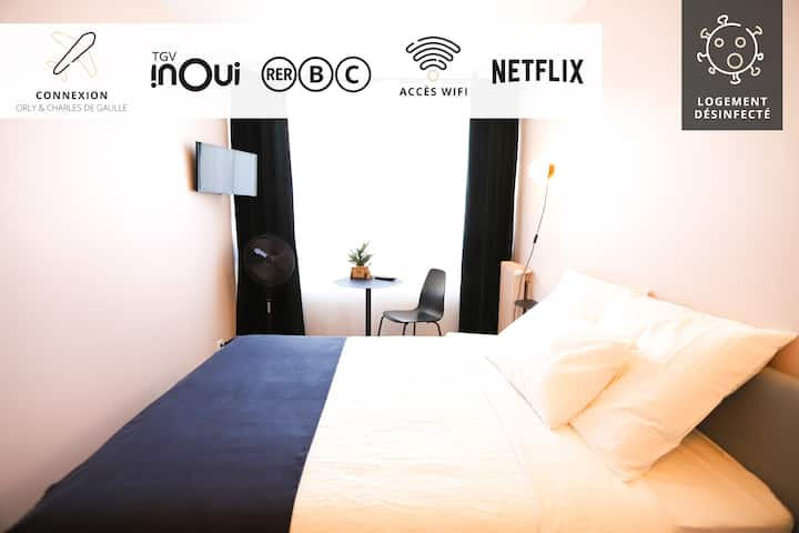 PARIS IN 15 MIN ☆ PAPEETE ROOM ☆ RER•TGV•NETFLIX