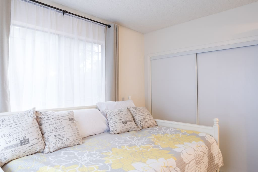 Comfortable full size bed with a single pull-out bed. You will have a space for your belongings in the closet.