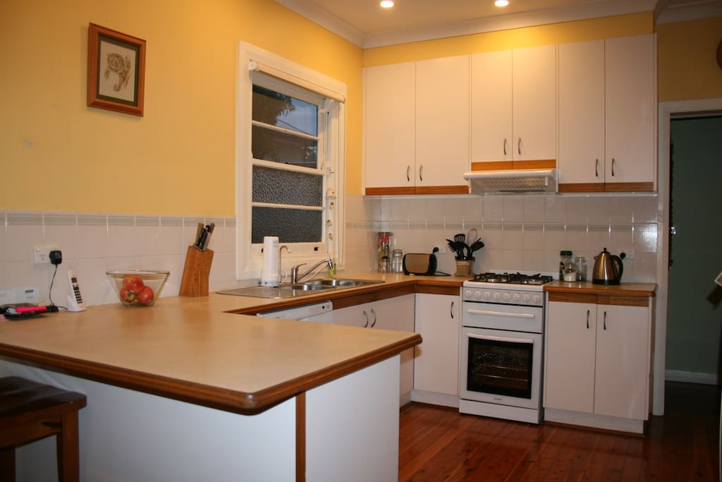 Large kitchen, electric oven and gas stove, dishwasher and microwave.