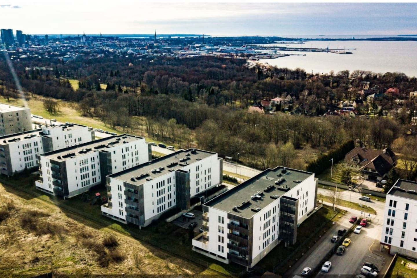 View from sky at the house and Tallinn.