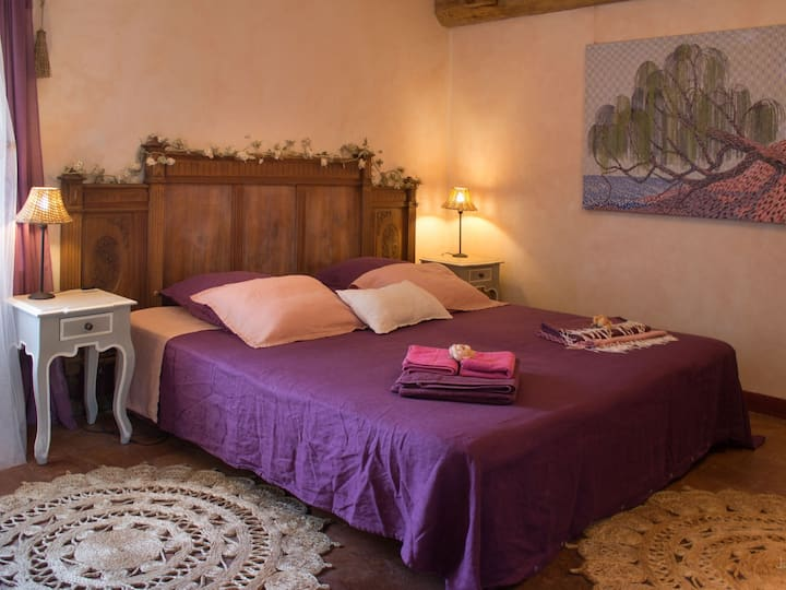 Chambre rose-Twin room-Romantic-Ensuite with Shower-Garden View