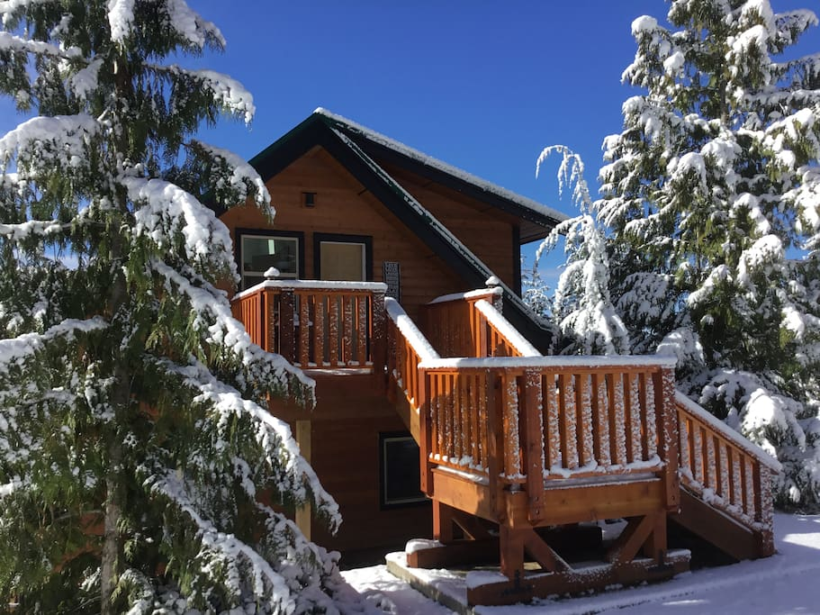 Entrance to the suite after a fresh snowfall
