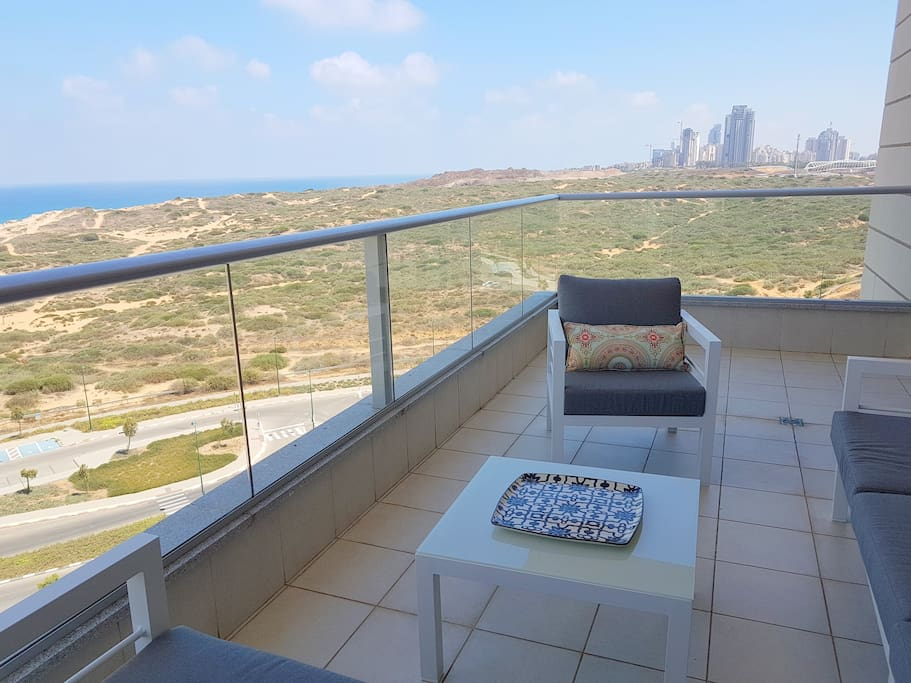 Spacious balcony with views of the nature reserve and Mediterranean Sea