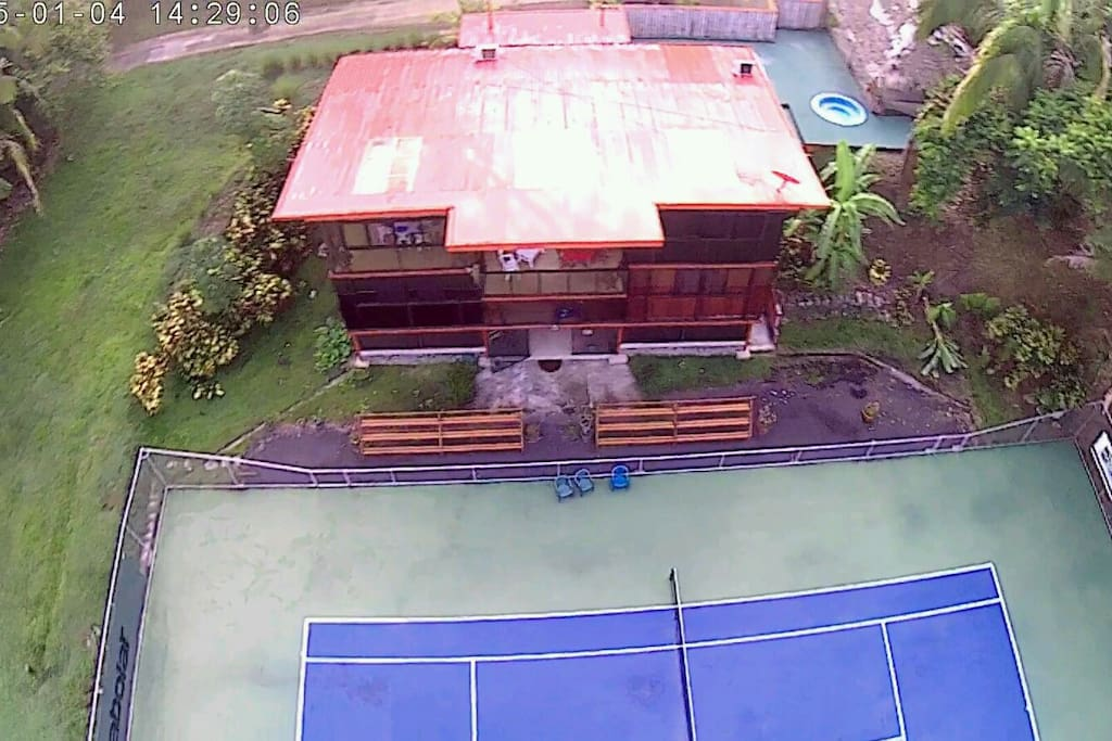 Aerial view of the whole property. Get 1 hr free tennis play daily during your stay