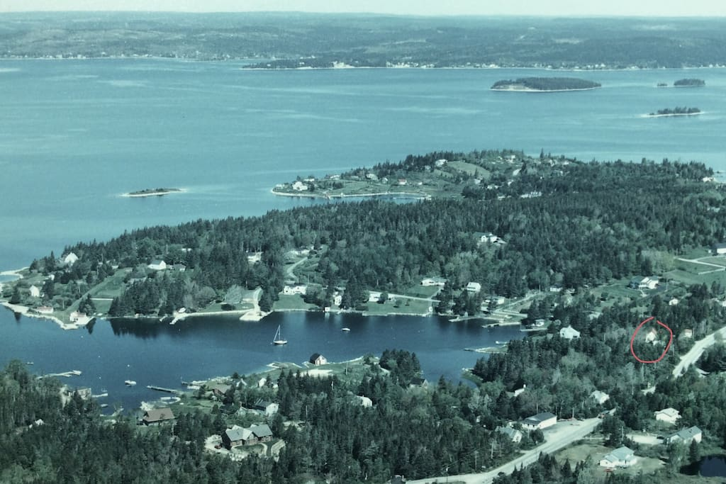 Aerial view of St. Margaret's Bay with our location