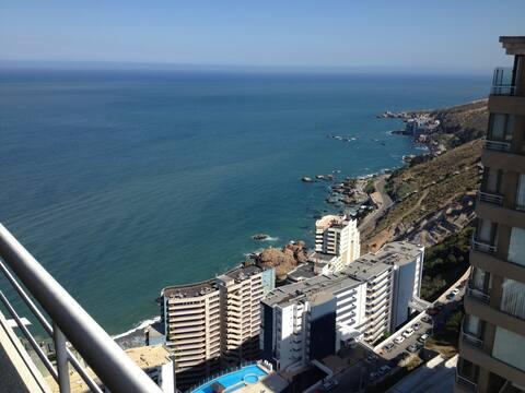 Apartamento acogedor, vista al mar, Reñaca