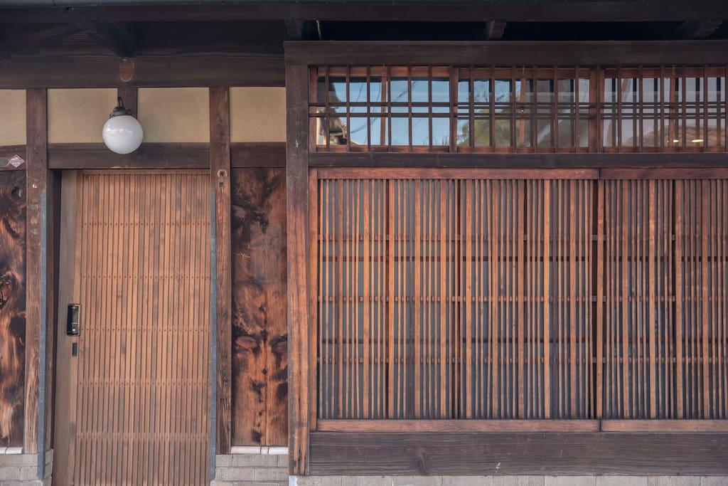 Front door and traditional machiya exterior